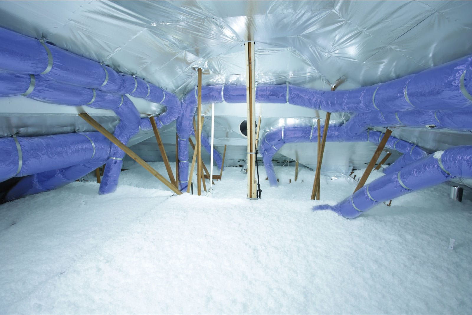 HVAC system maintenance - energy-attic-blue-ducts-radiant-barrier
