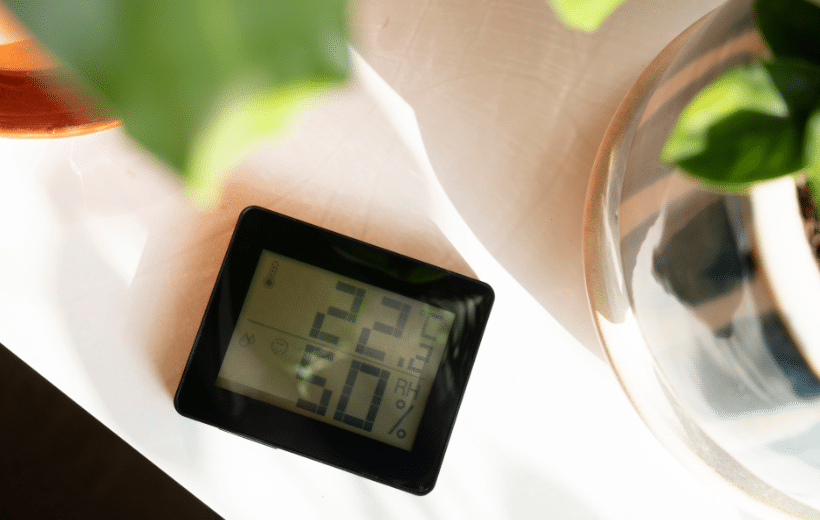 humidity detector laying on a table in a home